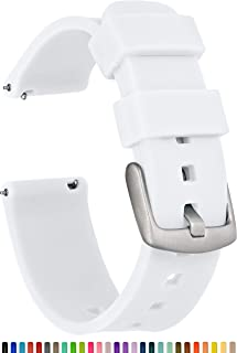 GadgetWraps 16mm Silicone Watch Band Strap with Quick Release Pins – Compatible with Fossil, Skagen, Misfit - 16mm Quick Release Watch Band (White, 16mm)