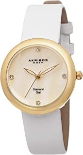 Akribos XXIV Women's Lux Swiss Quartz Diamond Satin Strap Watch