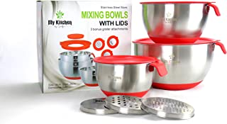 Stainless Steel Mixing Bowls, Set of 3 with airtight Silicone lids, 3 Grating Accessories and Non-Slip Silicone Base. My K...