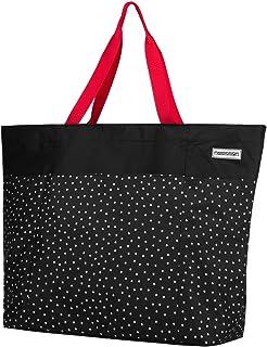 Anndora XXL Shopper - Bolsa de playa, para la compra, de hombro, A: puntos blancos y negros. (Negro) - TW-8220-230