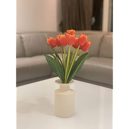 Fourwalls Beautiful Artificial Tulip Flower Bunch for Home décor (38 cm Tall, 9 Heads, Orange)