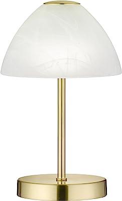 Reality Leuchten R52021108 Queen Lampe de Table, Verre, Integriert, 2.5 W, Laiton Mat, 15 x 15 x 24 cm