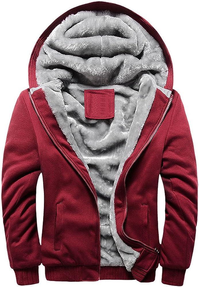 YAYUMI Mens Hoodie Winter Warm Fleece Zipper Sweater Jacket Outwear Coat Zip Pocket Baseball Uniform Red