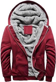 Clearance Balakie Mens Winter Warm Fleece Hoodie Solid Zipper Sweater Tops Coat