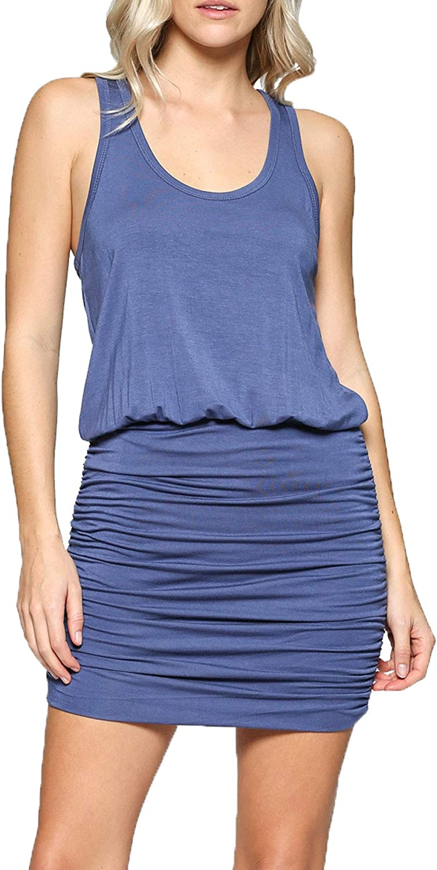 LaClef Women's Mini Bodycon Ruched Tank Dress