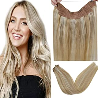 LaaVoo Halo Crown Human Hair Extensions in Ash Blonde Highligted Bleach Blonde 16inch No Glue No Tape With Clips on Weft Halo Hair 80g Per Pack Width 11 inch