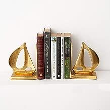 Casa Decor Boat Tug Bookends Book Organizer for Library School Office Home Study Desk Organizer Gift (Golden)