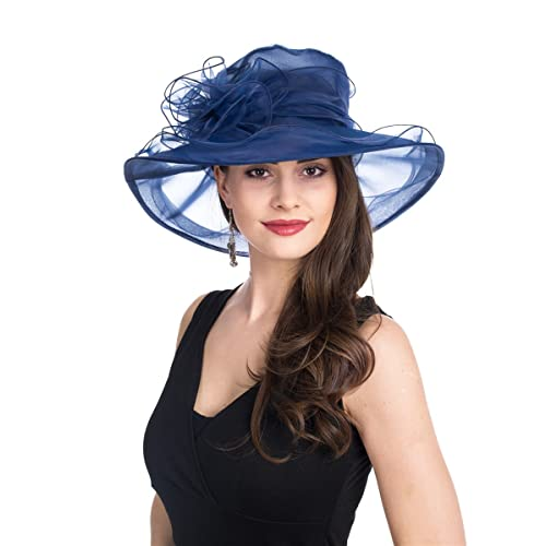 SAFERIN Women s Organza Church Kentucky Derby Fascinator Bridal Tea Party  Wedding Hat 9adbccff4309
