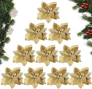 MEJOSER 10pcs Flores Navidad Artificiales Grandes 22cm con Purpurina Flores Pascua Ornamentos Adornos árbol Navidad Guirnaldas Adornos Navideños Manualidades Decoración Fiesta Dorado
