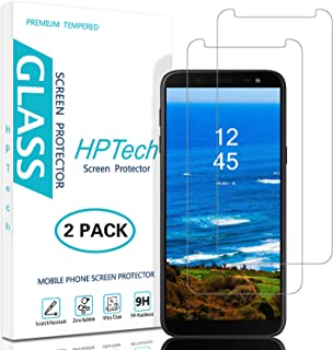 HPTech Galaxy J6 2018 Screen Protector - (2-Pack) Tempered Glass Film for Samsung Galaxy J6 2018 Screen Protector Bubble Free, Easy to Install with Lifetime Replacement Warranty