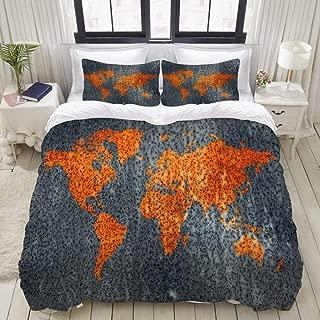 "Mokale Bedding Duvet Cover 3 Piece Set - Orange World Map - Decorative Hotel Dorm Comforter Cover with 2 Pollow Shams - King 104""X90"""