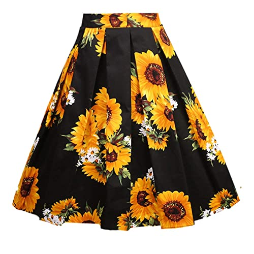 37e70ca085 Girstunm Women's Pleated Vintage Skirt Floral Print A-line Midi Skirts with  Pockets