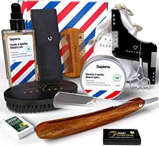 Kit soin barbe et rasage Sapiens Barbershop - Coffret barbe homme complet - Coupe choux, Huile barbe et Baume barbe Made i...