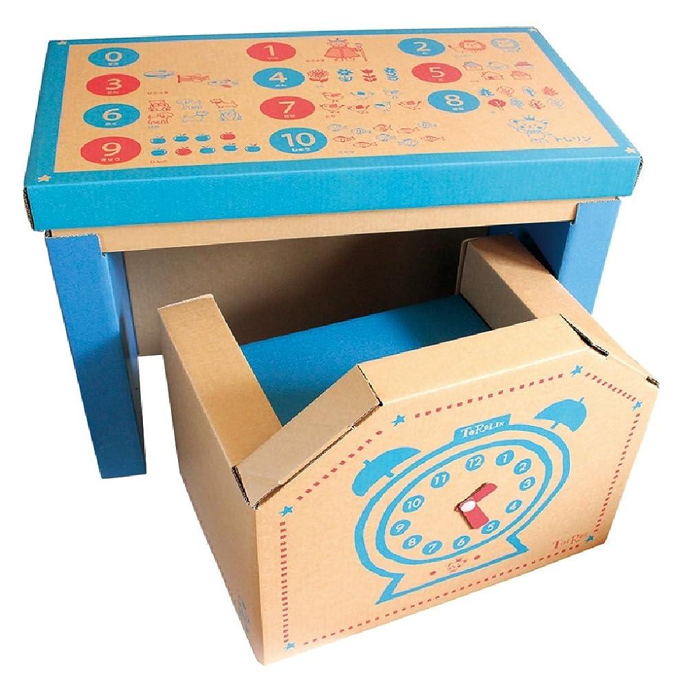 顕著心からファントムリサイクル可 ダンボール製 幼児用 学習机 ジュニアデスクチェア(青)