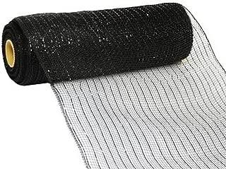 Deco Poly Mesh Ribbon- 10 Inch x 30 Feet, Black Metallic with Black Foil