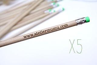 Matita con testo personalizzato, gruppo x5 matite, gomma verde, regalo personalizzabile