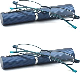 Eye-Zoom 2 Pack Ultra Slim Compact Lightweight Tube Reading Glasses with Portable Clip Aluminum Case, Navy Blue Strength +1.50