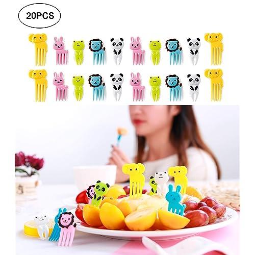 Cute Animals Food Fruit Picks and Forks for Kids, Mini Cartoon Animal Toothpick Bento Picks (Multi-color)