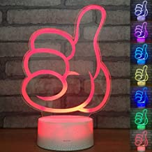 3D Illusion Thumb Night Light Lamp with 7 Color Change, Touch Base, Power by USB or Batteries