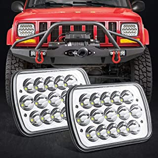 H6054 LED Headlights 7x6 5x7 Rectangle Headlamp Hi/Low Sealed Beam Replacement for Jeep Wrangler YJ XJ MJ 2pcs