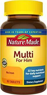 Nature Made Multivitamin For Him, Men's Multivitamin for Daily Nutritional Support, 90 Tablets, 90 Day Supply