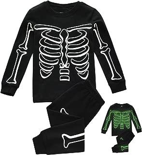 Kids Pajamas for Boys Skeleton Glow-in-The-Dark Cotton Sleepwear Toddler Clothes Halloween Outfit Size 2-7T