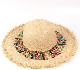 Ruiyue Summer Beach Sun Hat, Handmade Raffia Straw Panama Sun Hats Wide Brim Beach Caps With Tassel For Women Gilrs