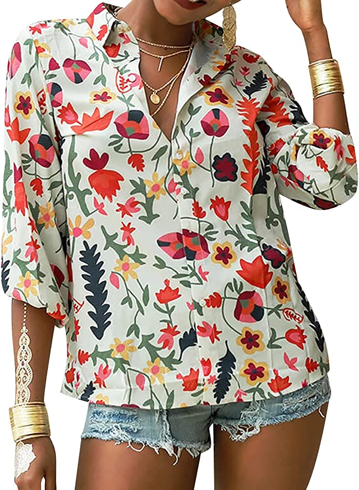 Veskonic Button Down Chiffon Blouses Collared Shirts Casual Tunic Long Sleeve Floral Print Button Up Boho Tops for Women