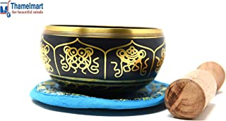 """4"""" Exquisite Tibetan Singing Bowl Set for Meditation ~ Auspicious Eight Lucky Symbols, Buddha Eye & Dorje Painted ~ Silk Cushion & Wooden Mallet Included ~Handmade in Nepal by Thamelmart"""