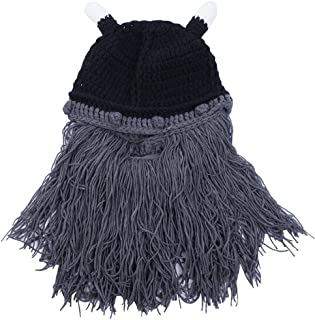 Wiwsi Mens Womens Beanie Hat with Detachable Beard Novelty Beard Hat Face Mask