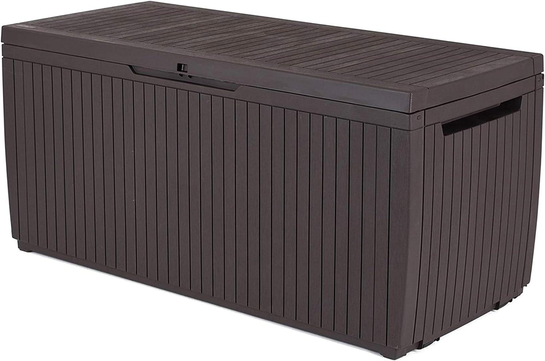 Keter 6048 Auflagen und Universal Wood Style Box, Springwood, braun, 305 L
