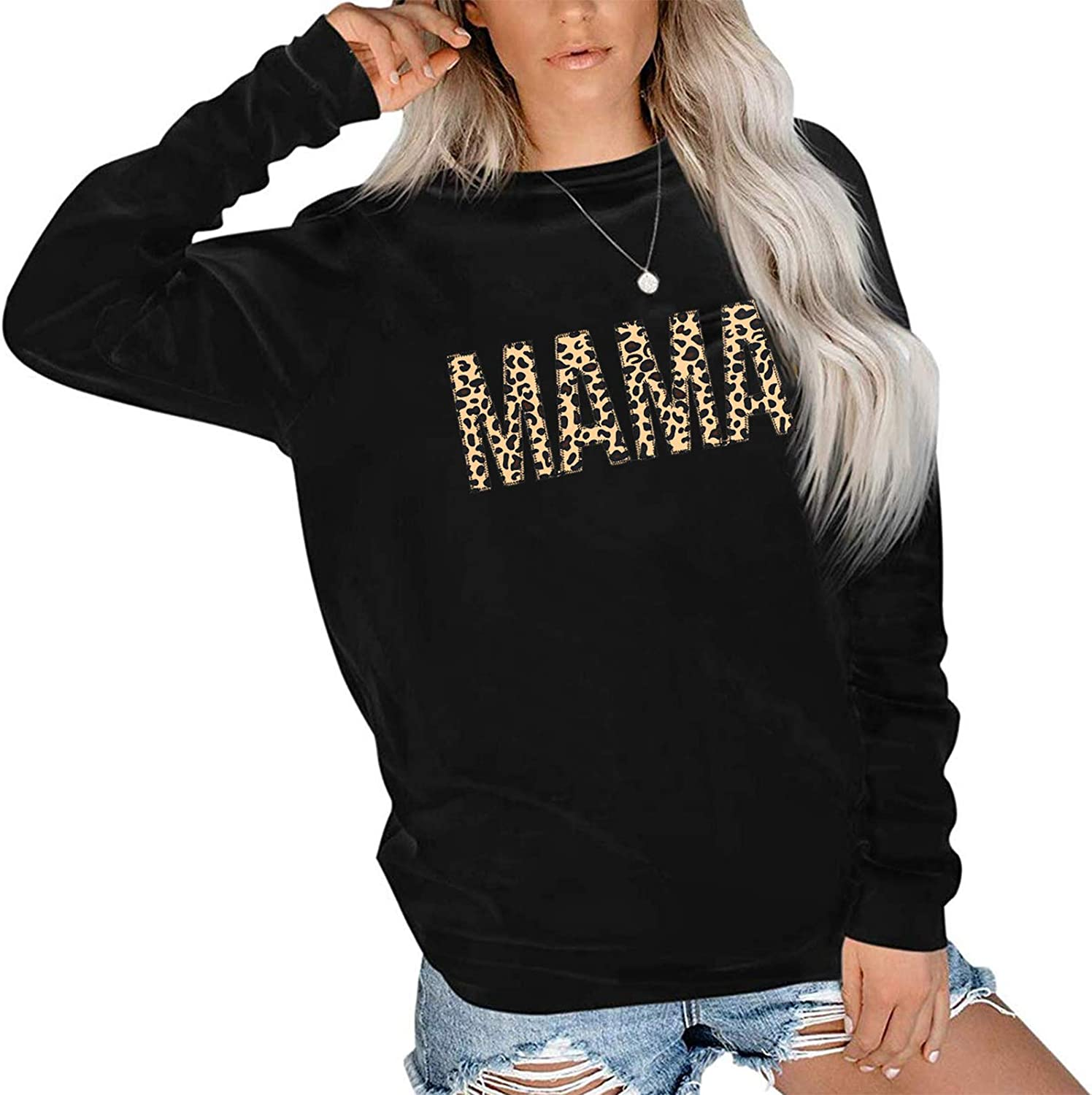 Mama Sweatshirt Women Cute Leopard Funny Letter Print Mom Blouse Tops Casual Long Sleeve Vacation Shirts Tops