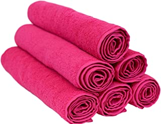Turquoise Textile 100% Turkish Natural Soft Cotton 6 Pack Hand Towel, Hot Pink