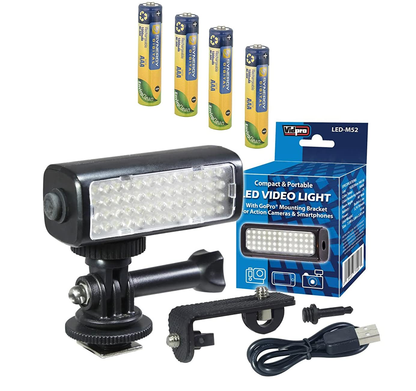 Zoom Q8 Handy Video Recorder Camcorder Lighting LED-M52 Mini LED Light for Action Cameras, Camcorders and Phones - Plus a Free Pack of 4 AAA NiMH Rechargable Batteries - 1000mAh fogllt6518