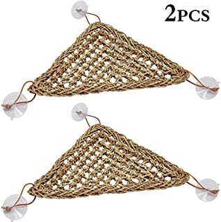 kathson Reptile Lizard Bearded Dragon Hammock Reptile Lounger,100% Natural Grass Fibers Hammock Bed for Anoles, Bearded Dragons, Geckos, Iguanas, and Hermit Crabs,Triangular(2 Packs,7.8 x 11 inch)