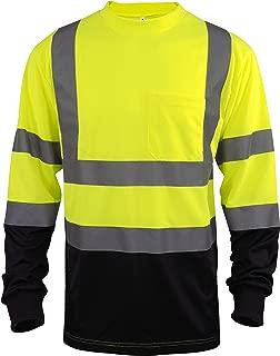 L&M Hi Vis Class 3 T Shirt Reflective Safety Lime Orange Short Long Sleeve HIGH Visibility, Black Bottom