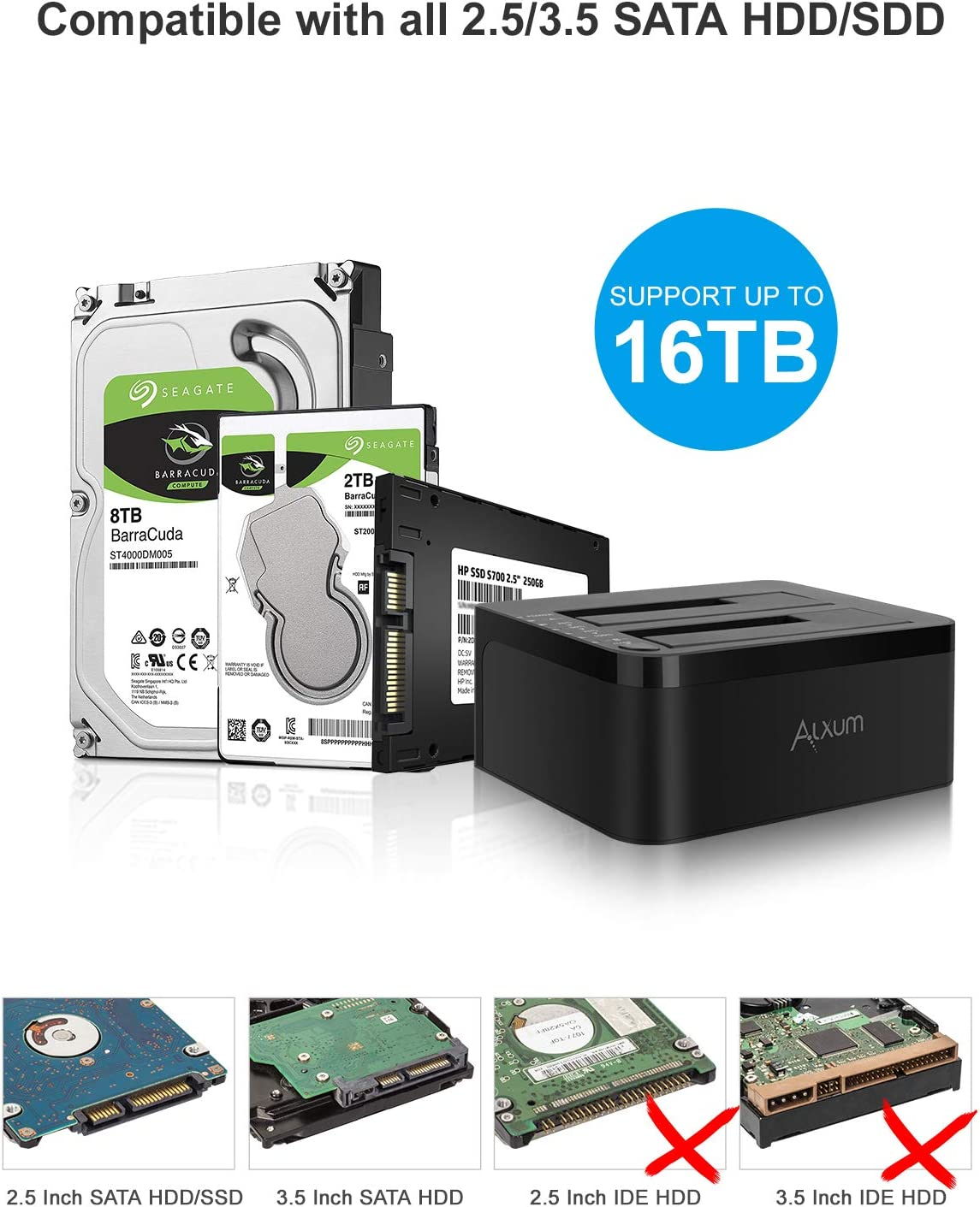 White Support Offline Clone Alxum USB C to SATA Hard Drive Docking Station with Built-in Cooling Fan and Dust Cover for 2.5 inch SATA HDD SSD