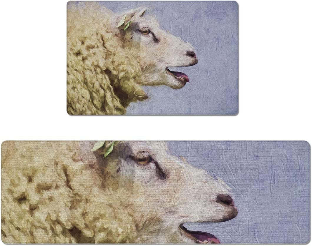SIGOUYI KitchenRugsandMatsSet Al sold out. of 2 Sheep Absorbe Max 74% OFF Watercolor