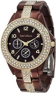 Womens Chocolate Brown Watch Large Face Rhinestone Accent Bracelet Jade LeBaum - JB202747G