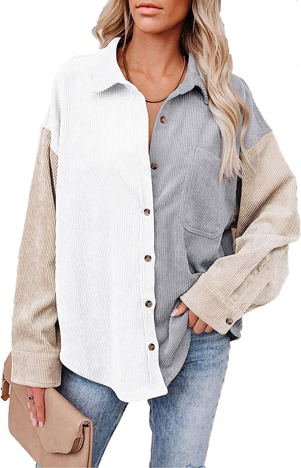 KOJOOIN Womens Corduroy Shirts Button Down Color Block Blouses Tops