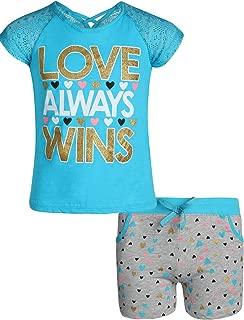 Real Love Conjunto de 2 Piezas de Pantalones Cortos de Rizo franceses con Camisetas Coloridas para niñas