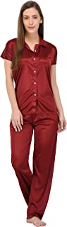 Fabme Women's Plain Satin Night Suit (Shirt and Pyjama) (Color Options) (Size - Small to XX-Large)