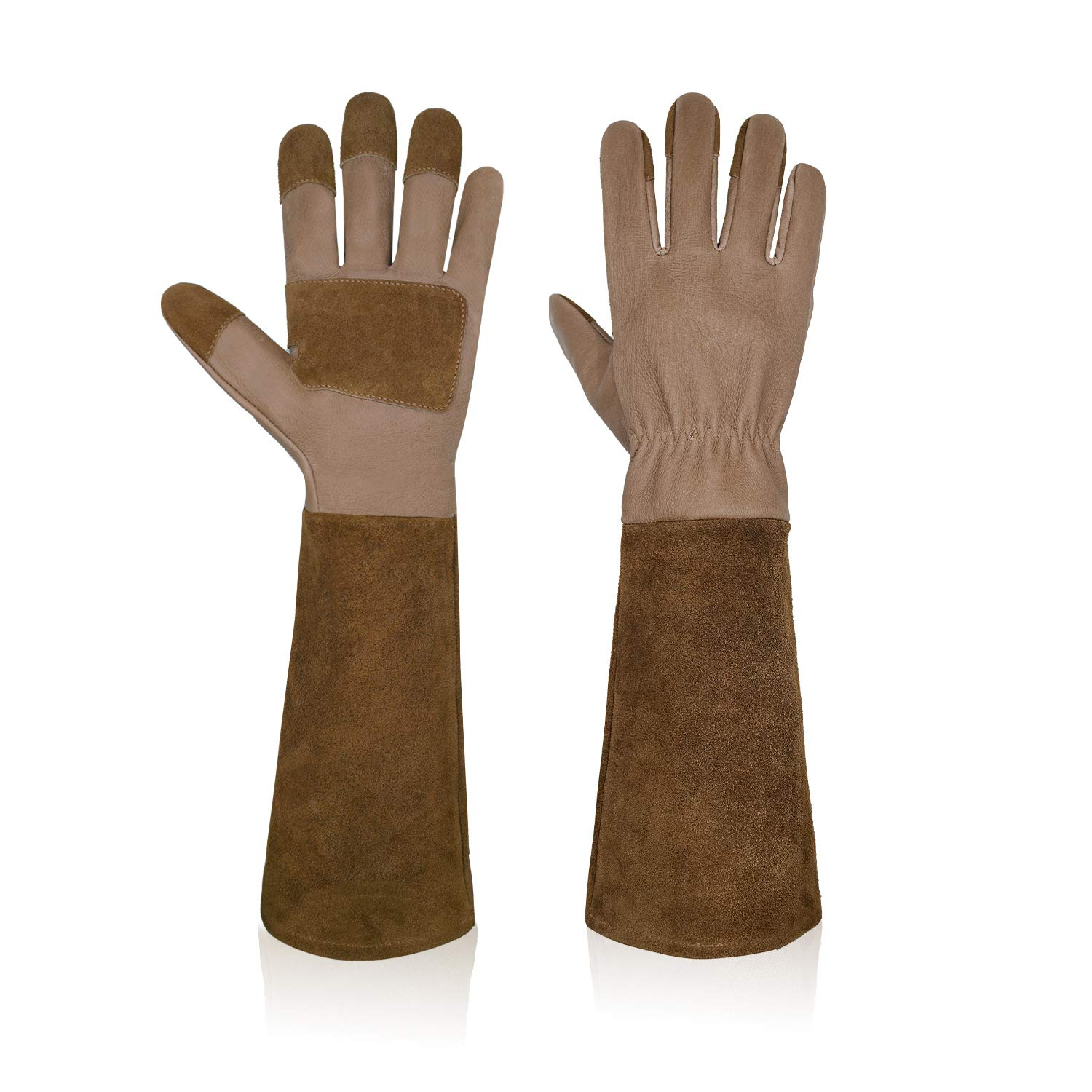 Garden Gloves Women&Men,Rose Pruning Gloves Pigskin Leather Puncture Resistance Long Sleeve Rose Gardening Gloves,Thorn Proof Garden Work Gauntlet with Forearm Protection(S, Brown)
