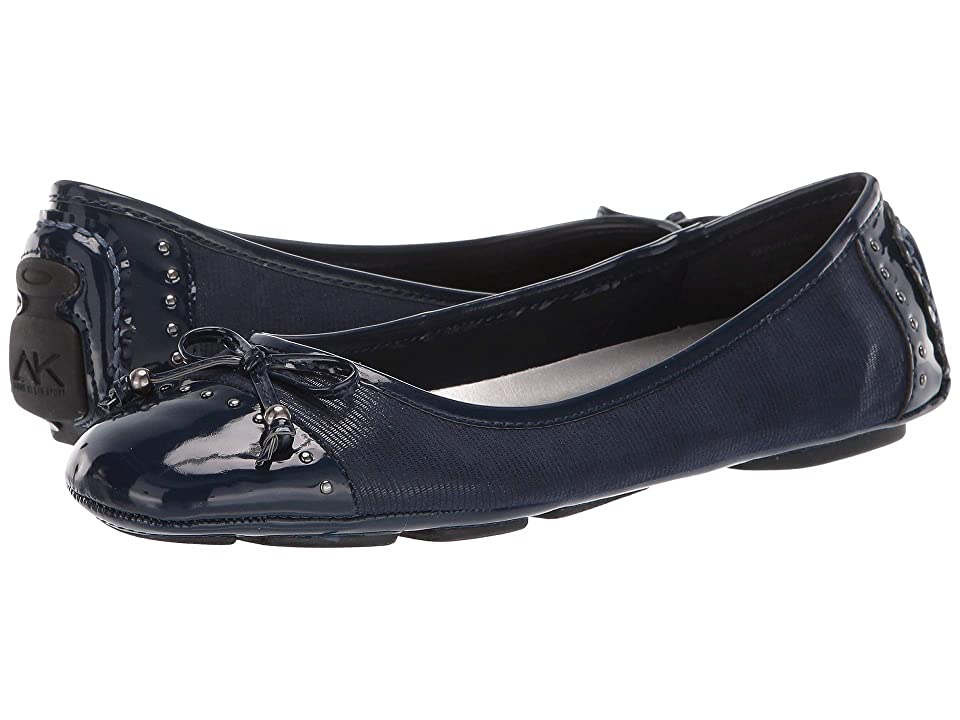 Anne Klein Buttons Flat (Navy) Women