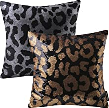 Phantoscope Set of Decorative Magic Reversible Sequin Leopard Print Throw Pillow Case Cushion Cover 18 x 18 45 x 45 cm