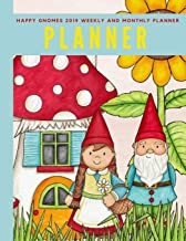 Happy Gnomes 2019 Weekly and Monthly Planner: Weekly Pages and Monthly Calendars Format with Habit Tracker, Moon Phases, Monthly National Themes, ... Birthday Tracker, Contacts List and Notes