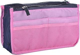 حقيبة يد صغيرة للنساء للسفر منظم محفظة بطانة كبيرة المنظم حقيبة مرتبة - وردي