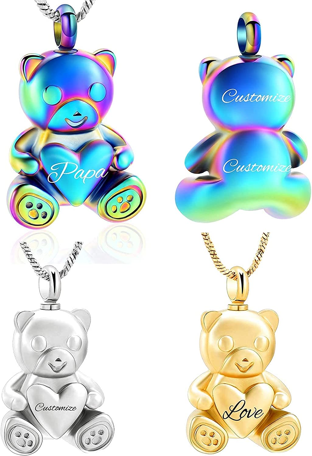 Yinplsmemory Teddy Bear Urn Necklace for Ashes Keepsake Memorial Jewelry for Women/Men Stainless Steel Animal Ash Locket for Human/Pet Ashes