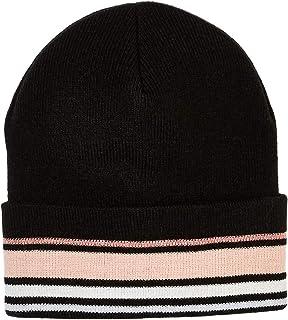 Under Zero Women's Black Pink Striped Acrylic Knit Beanie Skullies Hat