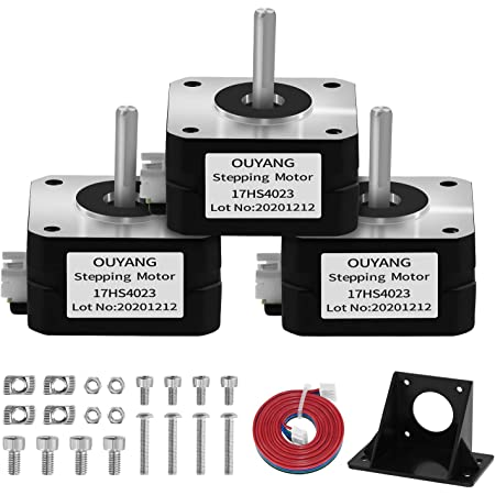 OUYANG Nema 17 Stepper Motor 130mN.m 1.8 Degree with Bracket and 1M XH Cable for CNC,3D Printer(17HS4023,3 PCS)